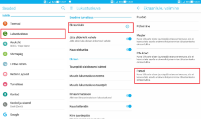 Ekraaniluku aktiveerimine Android telefonis